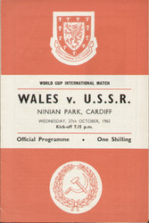 original Official programme for the World Cup match Wales V USSR played on 27 October 1965 at Ninian Park, Cardiff.