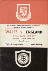 original Official programme for the European Nations Cup match Wales V England played on 21 October 1967 at Ninian Park, Cardiff.