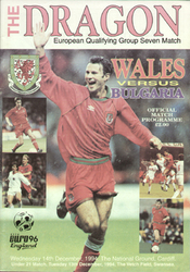 original Official programme for the European Qualifying match Wales V Bulgaria played on 14 December 1994 in Cardiff