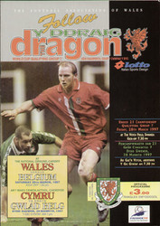 original Official programme for the world Cup Qualifying match Wales V Belgium played on 22 March 1997 in Cardiff.