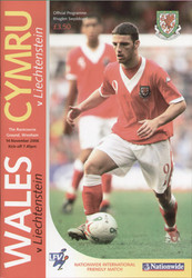 original Official programme for the international match Wales V Liechtenstein played on 14 November 2006 in Wrexham.