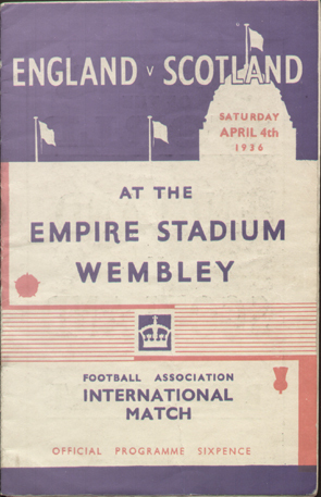original Official programme for the international match England V Scotland played on 4 April 1936 at Wembley Stadium.