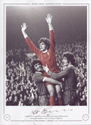 Liverpool's Peter Cormack celebrates with teammates Kevin Keegan & Phil Boersma after scoring against Manchester City in a 4-0 victory at Anfield in 1974.