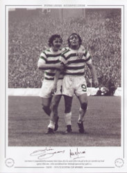 Lou Macari is congratulated by teammate Dixie Deans after he scored Celtic's 5th goal in the 1972 Scottish Cup Final against Hibernian. Celtic overwhelmed their Edinburgh opponents by 6 goals to 1.