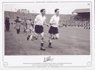Tottenham Hotspur captain Danny Blanchflower and Les Allen complete a lap of honour around Wembley Stadium, after defeating Leicester City in the 1961 Final, completing a memorable League and FA Cup Double.