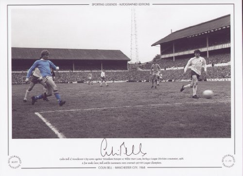 Colin Bell of Manchester City scores against Tottenham Hotspur at White Hart Lane, during a League Division 1 encounter, 1968. A few weeks later Bell and his teammates were crowned 1967/68 League Champions.