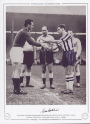 Rangers captain Eric Caldow exchanges pennants with Fiorentina captain Alberto Orzan, prior to the first ever European Cup Winners Cup Final in 1961. Unfortunately, Fiorentina won by a 4-1 aggregate.