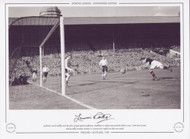 England V Scotland 1949. Scotland's Lawrie Reilly scores his side's 3rd goal against England at Wembley in a home international clash in 1949. Goals from Mason, Steel & Reilly recorded a famous 3-1 victory over England.