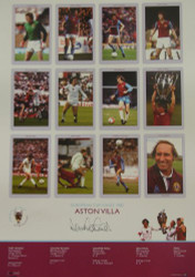 Superb handsigned Cup Kings series limited edition. The picture contains 12 pen pictures, one of each member of the victorious Aston Villa side, including their then manager, Tony Barton. The legend contains full details of each round.