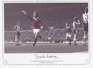 Jim McCalliog celebrates scoring his winning goal for Manchester United against Newcastle United, at Old Trafford on the 13th April 1974.