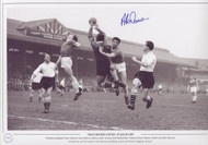 Fulham goalkeeper Tony Macedo rises high to collect a ball, beating both Manchester United strikers Dennis Viollet and Alex Dawson. United ran out 5-0 winners with Dawson grabbing a goal and Viollet bagging a brace!