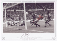 Despite the best intentions of Brighton's Gary Stevens, Frank Stapleton opens the scoring for Manchester United in the 1983 FA Cup Final. the plucky Brighton side held out for a 2-2 draw.