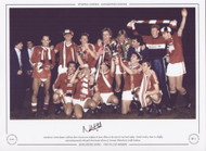Manchester United players celebrate their victory over Brighton & Hove Albion in the 1983 FA Cup Final replay. United struck four times in a highly entertaining match, with goals from Bryan Robson (2), Norman Whiteside & Arnold Muhren.