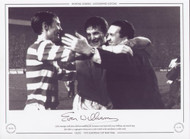 Celtic manager Jock Stein celebrates reaching the European Cup Final with Evan Williams and David Hay after their 3-1 aggregate victory over Leeds United in the semi final at Celtic Park.