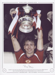 Manchester United captain Bryan Robson holds aloft the FA Cup, after his sides victory over Everton in 1985. Although United were down to 10 men, they rallied together and Norman Whiteside scored 110th minute winner.