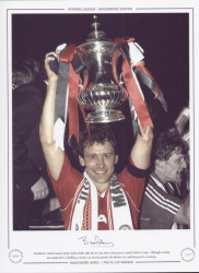 Manchester United captain Bryan Robson holds aloft the FA Cup, after victory over Crystal Palace in 1990. Although a replay was needed after a thrilling 3-3 draw, Lee Martin proved to be the hero in a well deserved 1-0 victory.