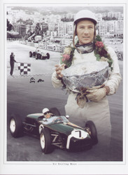 Sir Stirling Moss OBE is widely regarded as one of the greatest all-round racing drivers of all time and a true icon of the motor racing world. Superb montage and great addition to any collection, signed at collectormania November 2010.