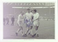 Superb picture of QPR's Rodney Marsh celebrating QPR's thrilling win against West Brom in the League Cup Final 1967.  Goals from Roger Morgan, Rodney Marsh and a last gasp winner from Mark Lazarus capped a remarkable comeback as Rangers came from 2 down to win 3-2.  Signed by Rodney Marsh at a commercial signing held in October 2010.