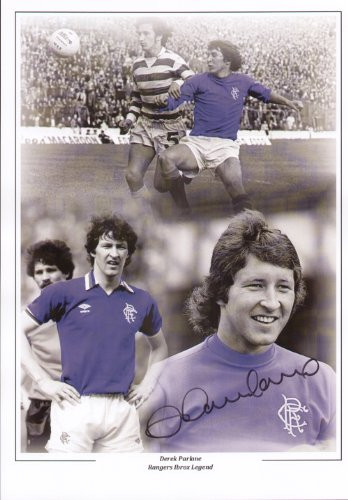 Parlane made a total of 202 appearance for Rangers (1970 - 1980), scoring 80 goals, finishing the club's top scorer in four seasons. This superb montage was signed by Derek Parlane at a private signing session held August 2010.