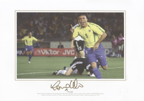Brazilian superstar Ronaldo leaves German goalkeeper Oliver Kahn in despair as he scores the first of his two goals in the 2002 World Cup Final.