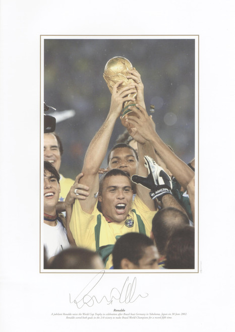 Brazilian superstar Ronaldo lifts the 2002 World Cup after defeating Germany in the Final.