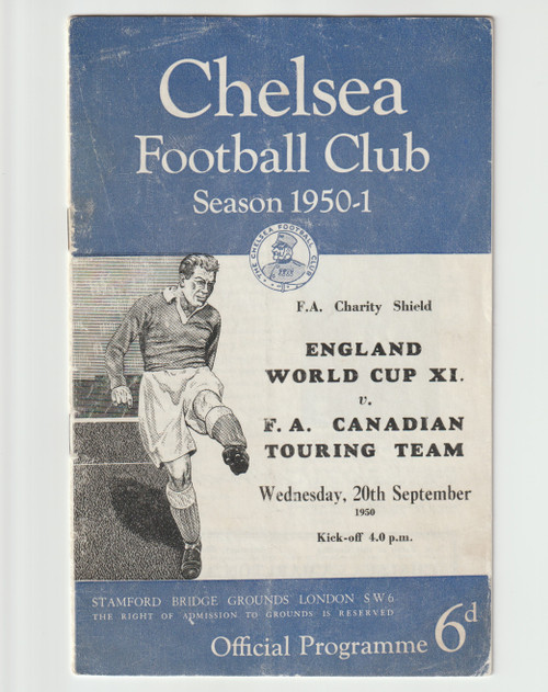 original Official 1950 FA Charity Shield programme. The game, England World Cup XI V FA Canadian Touring Team was played on 20 September 1950 at Stamford Bridge.