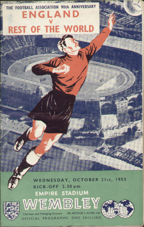 original Official programme for the International match England V Rest of the World, the game was played on 21 October 1953 at Wembley.