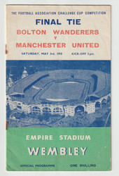 original official programme for the 1958 FA Cup Final, the match Bolton Wanderers V Manchester United was played on 3rd May 1958 at Wembley stadium.
