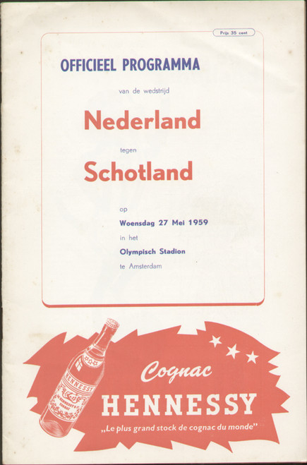 original Official programme for the international match Holland V Scotland played on 27 May 1959 at Olympic Stadium, Amsterdam.