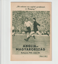 original Official programme for the International match Hungary V England, the game was played on 22 May 1960 in Budapest.