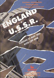 original Official programme for the England Challenge Cup match England V USSR, the game was played on 21 May 1991 at Wembley.