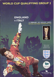 original Official programme for the World Cup qualifying match England V Italy, the game was played on 12 February 1997 at Wembley.