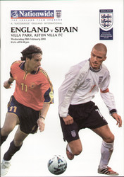 original Official programme for the friendly International match England V Spain, the game was played on 28 February 2001 at Villa Park.