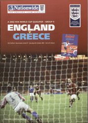 original Official programme for the World Cup Qualifier England V Greece, the game was played on 6 October 2001 at old Trafford.