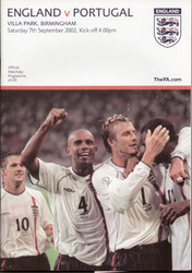 original Official programme for the friendly International Match England V Portugal, the game was played on 7 September 2002 at Villa Park.