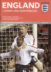 original Official programme for the friendly International England V Serbia & Montenegro, the game was played on 3 June 2003 at the walkers Stadium, Leicester.