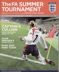 original Official programme for the FA Summer tournament featuring England, Japan & Iceland, the games were played on 30 May - 5 June 2004 at the City of Manchester Stadium.