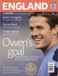 original Official programme for the World Cup qualifier England V Austria, the game was played on 8 October 2005 at Old Trafford.