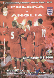 original Official programme for the World Cup qualifying match Poland V England, the game was played on 8 September 2004 in Chorzow, Poland.