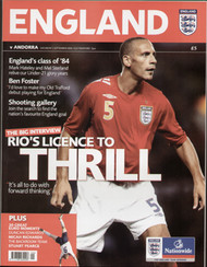 original Official programme for the Euro 2008 qualifier England V Andorra, the game was played on 2 September 2006 at Old Trafford.