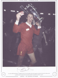 An ecstatic Phil Neal celebrates Liverpool's victory over Real Madrid, in the 1981 European Cup Final at the Parc des Princes, Paris.