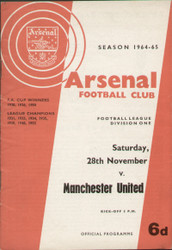 original Official programme for the League Division 1 match Arsenal V Manchester United played on 28 November 1964 at Highbury.