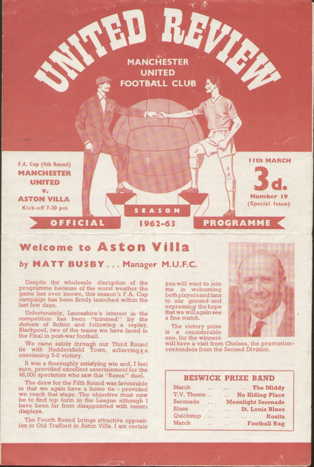 original Official programme for the FA Cup 4th Round match Manchester United V Aston Villa played on 11 March 1963 at Old Trafford.