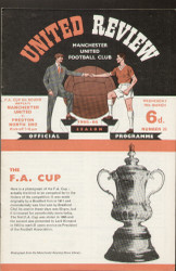 original Official programme for the FA Cup 6th Round replay match Manchester United V Preston North End played on 30 March 1966 at Old Trafford.