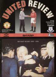 original Official programme for the Premier League match Manchester United V Everton played on 22 January 1994 at Old Trafford.