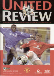original Official programme for the Premier League match Manchester United V Newcastle United played on 20 August 2000 at Old Trafford.