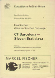 original Official 1969 Cup Winners Cup Final programme, the game Barcelona V Slovan Bratislava was played in Basel on 21 May 1969.