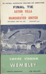 original official programme for the 1957 FA Cup Final, the match Aston Villa V Manchester United was played on 4th May 1957 at Wembley stadium. Villa won the cup with two goals from Peter McParland.