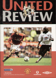 original Official programme for the Premier League match Manchester United V Everton played on 8 September 2001 at Old Trafford.
