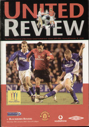 original Official programme for the Premier League match Manchester United V Blackburn Rovers played on 19 January 2002 at Old Trafford.